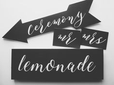 Handwritten Chalkboards - Lemonade / Ceremony / Mr & Mrs  #chalkboard #handwrittenchalkboard #lemonadesign #mrandmrs #ceremony