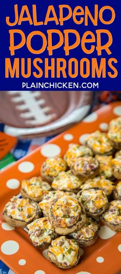 Jalapeño Popper Mushrooms – always the first thing to go at parties! Mushrooms stuffed with cream cheese, garlic, cheddar cheese,… Soup Appetizers, Low Carb Appetizers, Appetizer Recipes, Cheese Stuffed Mushrooms, Baked Mushrooms, Super Bowl Essen, Cooking Recipes, Healthy Recipes, Healthy Meals