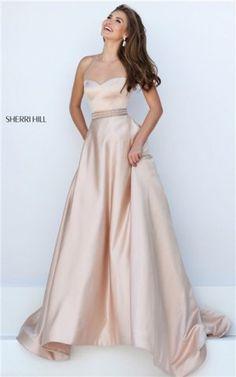 Cheap Sherri Hill 50222 Nude Jeweled Halter Open Back Long Prom Dresses 2016