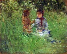 Tablouri Morisot-Woman and child in garden in Bougival | Tablouri celebre,p445 | tablouri canvas online