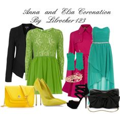 Anna and Elsa coronation outfit by #lilrocker123  #disney #disneyoutfits #frozen #anna #elsa #disneyfrozen