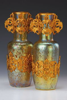 Pair of vases, Loetz, 1900, Papillion, multiple lustre, elaborate gilt Metal in style. floral decoration, H. approx 24.5cm