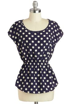 Working for the Weekdays Top in Navy Dots
