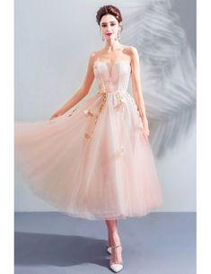 Fairy Butterfly Tulle Tea Length Party Dress Off Shoulder Wholesale #T69021 - GemGrace.com Girls Bridesmaid Dresses, Prom Dresses, Formal Dresses, Tea Length, Off The Shoulder, Party Dress, Tulle, Fairy, Ballet Skirt