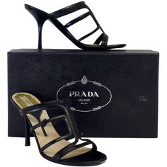 Pre-owned Prada Black Leather Sandal Heels (€150) ❤ liked on Polyvore featuring shoes, sandals, genuine leather shoes, prada sandals, black leather shoes, prada shoes and leather sandals