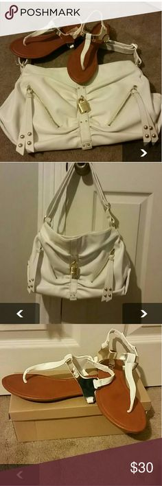 Steve Madden White&Gold purse w/Matching Sandals Steve Madden White&Gold Shoulder Bag w/Matching White &Gold Thong Sandals f(Shushop). I purchased it for an all white party and haven't used it since! Shame... *Selling as a bundle* Steve Madden Bags Shoulder Bags