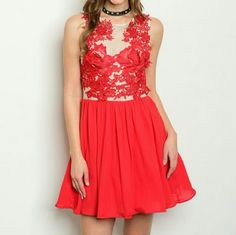 """""""LADY IN RED"""" Dress Nwot Brand new, no tags Boutique item, price is firm   Stunning and elegant formal dress. WHEN IN DOUBT WEAR RED! Gorgeous red embroider details on a sheer nude material, flowing and full red chiffon skirt.  Small Bust 16"""" across/ Length 34"""" Medium Bust 17""""across /Length 34"""" Large Bust 18"""" across/ Length 35"""" Material 100%polyester Zips up in back Dresses"""