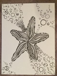 Zentangle Starfish for Tracey Starfish Drawing, Ocean Drawing, Starfish Art, Seashell Art, Zentangle Drawings, Zentangle Patterns, Art Drawings, Zentangles, Sea Creatures Drawing
