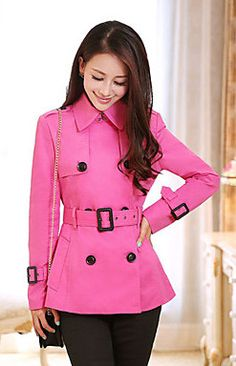 Women's Casual/Work Thin Long Sleeve Long Trench Coat  - Pink