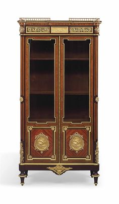 A FRENCH ORMOLU-MOUNTED AMARANTH, TULIPWOOD, AMBONYA, AND FRUITWOD VITRINE CABINET -  THE MOUNTS BY HENRI PICARD, PARIS, LATE 19TH CENTURY