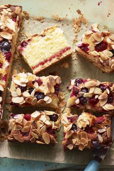 Blueberry and raspberry almond cake with a hidden layer of jam and a buttery biscuit base. Raspberry And Almond Cake, Shortbread Cake, Buttery Biscuits, Summer Berries, Almond Cakes, Cake Recipes, Muffin Recipes, Sweet Recipes, Yummy Recipes