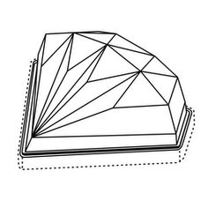 The mark consists of a multifaceted round cut diamond shaped container viewed from the side profile. The configuration is comprised of surfaces surrounding the front and sides of the container with an open back