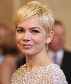 The Hottest Haircuts Right Now (Voted by Glamour magazine). Haircut  Idea- Michelle Williams's Long Pixie.  Williams's flirty crop proves that short hair needn't be tomboyish. Her pixie is really sexy thanks to the longer hair at the crown, and the soft and wispy back and side pieces. This cut works best for fine or medium textures—coarse, curly, or thick hair would get too puffy—and on those with heart or oval-shaped faces