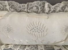 Vintage linen & lace mini pillow
