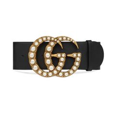 33b69a86fa1 Gucci pearl Double G Leather Buckle