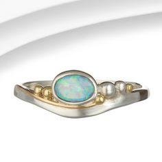 Organic Silver & Gold Opalite Ring
