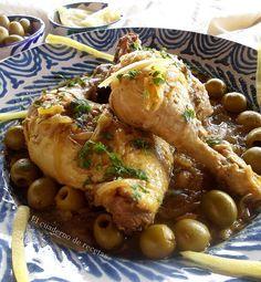 Pollo con limón encurtido y aceitunas