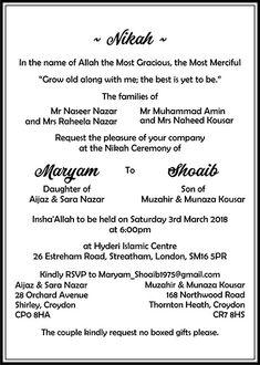 10 Best Wedding Invitation Wordings Images Muslim Wedding