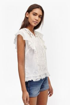 French Connection - Dayton Lace Frill Sleeve Top