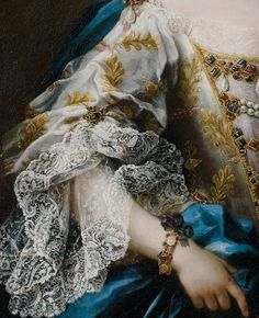 Sebastiano Ceccarini,  Portrait of a lady, half-length, in a white embroidered dress and a blue sash (detail)  18th century