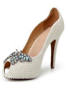 Love...Love...Love these Heels! A Little Something Blue! Fabulous White Stiletto Heel Butterfly Bow Patent  Women's Peep Toe Shoes #White #Peep_Toe #Butterfly #Heels