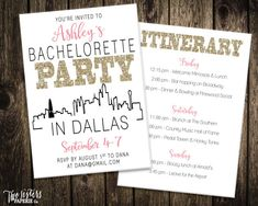 This DALLAS TEXAS Bachelorette Party Invitation & Itinerary is completely customizable, colors can be changed!  This listing is for a digital file only, a high resolution JPG for you to print on your own Includes 3 rounds of revisions  -MATCHING LAST FLING BANNER - https://www.etsy.com/listing/468817500  ----------------------------------------- WHAT YOU RECEIVE: 5x7 Hi-Res Invitation JPEG file for ordering online printing*  If you are not printing at home, please let...
