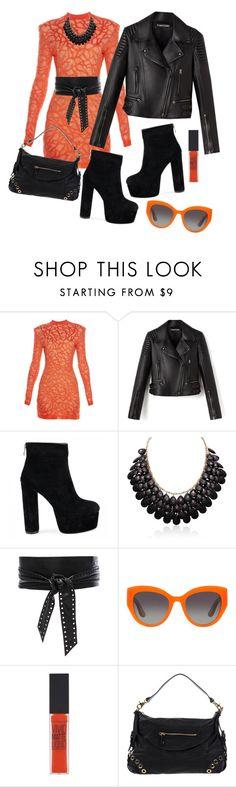 """Black and Orange"" by markitahamilton3 ❤ liked on Polyvore featuring Balmain, Adoriana, IRO, Dolce&Gabbana, Maybelline, Pierre Balmain, Boots, jacket and fantastic"