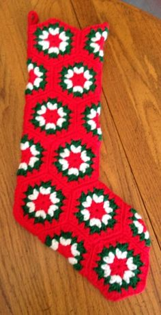 Crochet Christmas Stocking, Hand-Made, Granny-Style Hexagon Pattern, About 20"