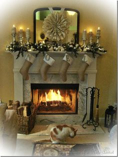 Christmas inspiration...mercury glass candlesticks, burlap stockings, vintage sheet music wreath.