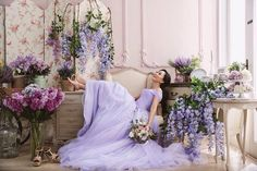 The #lavender-hued gown and florals in this shoot by @axioo are perfect #pastel inspiration for a #spring wedding. #repost