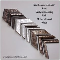 Mother of Pearl Champagne, White and Gold from Designer Moulding's New Seaside Collection available Karen's Detail Custom Frames, Orange County CA www.karenscustomframes.com