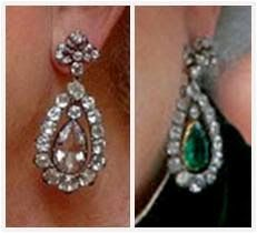 The Queen's Emerald or Diamond Pendant Earrings One of The Queen's more versatile pairs of earrings are these pendants, which can be swi. Art Deco Earrings, Pendant Earrings, Drop Earrings, Diamond Earrings, Royal Jewelry, Fine Jewelry, Jewellery Sale, Geek Jewelry, Vintage Jewellery