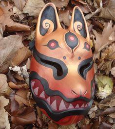 Gold red kitsune mask by missmonster Kitsune Mask, Steampunk Mask, Japanese Mask, Fox Mask, Bird Masks, Custom Monster High Dolls, Cosplay Armor, Masks Art, Mask Design