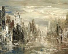 Abstract Cityscape Painting Skyline Urban City by TatianasART