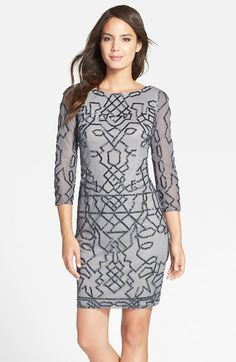 Adrianna Papell Long Sleeve Beaded Cocktail Dress available at #Nordstrom