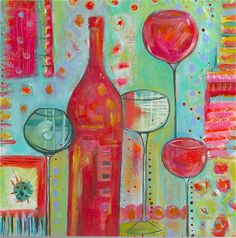 Cheerful WINE painting titled Happy Hour. $25.00, via Etsy.