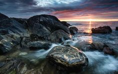 Errislannan shoreline at sunset Connemara, West Coast, Ireland, Landscapes, Scene, Adventure, Sunset, Explore, Water