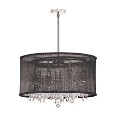 Dianolite Decorative 8 Light Crystal Chandelier, Polished Chrome, Black Organza Drum Shade