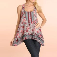 Boho Flowing Floral Tank Top - so cute for a summer music fest or concert!