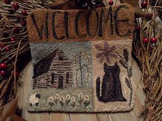 """Primitive Punch Needle""""WELCOME MAT"""" Candle Mat~Mini Rug~Folkart~Country"""