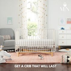 Built to grow alongside your stylish babe, the Bixby includes a matching metal toddler bed conversion kit to seamlessly convert from crib to toddler bed to daybed.