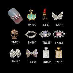 10 Pcs/Lot Glitter Rhinestones Nails Tools Crown Lips Lipstick Skull Wings Bow Alloy For 3D Nail Art Decorations TN860-870 #Affiliate