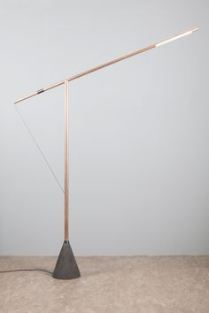 Balance XXL is a minimalist design created by Eindhoven-based designers Studio Mieke Meijer. Inspired by the structure of a tower crane, Balance only lights up when perfectly balanced. It is lamp you. Lighting Concepts, Lighting Design, Task Lighting, Custom Lighting, Industrial Style Lamps, Diy Floor Lamp, I Love Lamp, Concrete Lamp, Wood Lamps