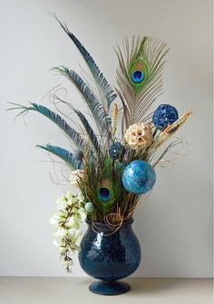 Floral Arrangements Peacock Floral Arrangement with by prism7art, $49.00 by jacquelyn