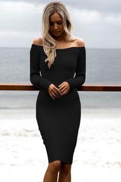 Robes Pull Tricot Noir Manches Longues Moulante Mi Longue. Black Sweater  DressBlack ... a45832d7288f