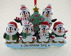 6 Penguin Family Personalized Ornament - Family of Six around the Christmas Tree - Hand Personalized Christmas Ornament
