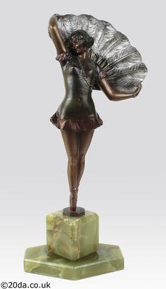 "Art Deco Austrian bronze figure by Bruno Zach, circa 1930 ""fan dancer"""