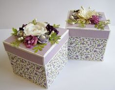 Beautiful boxes- have lavender satin fabric and lavender rose print, use silk flowers on top of crocet doily