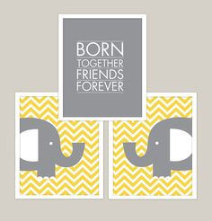 Born Together  Chevron Elephants   Wall Art by giraffesnstuff, $25.00  Designing a space for two babies (or more) can be a double your pleasure and double the fun situation so why not take advantage of this unique opportunity to really do something cool and unusual or at the very least give the traditional twins nursery themes your very own personalized decorative touches?