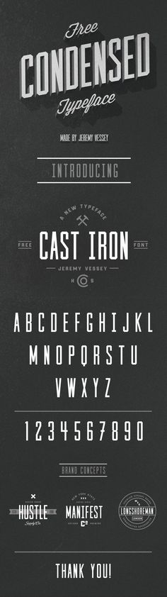 Cast Iron free font by Jeremy Vessey #condensed #free #font